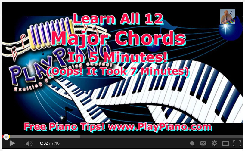 Learn all of the 12 Major Piano Chords : Piano Lessons for Adults